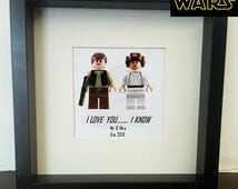Star Wars  Wedding lego print (Han solo & Princess Leia) and box picture frame couples gift idea, hipster, sci fi Anniversary, Engagement