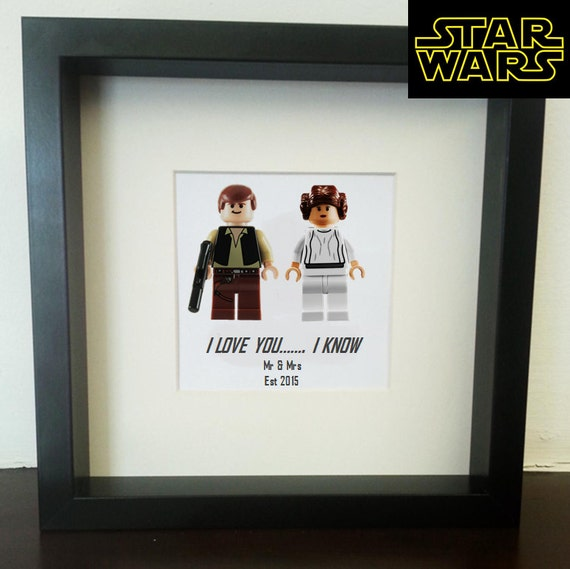 star wars wedding lego print han solo princess leia and. Black Bedroom Furniture Sets. Home Design Ideas