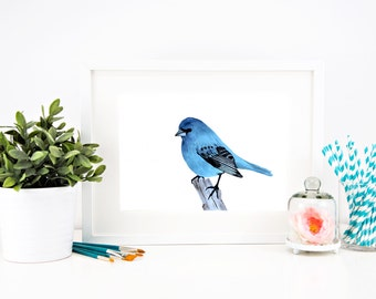 Blue bird painting, watercolor bird print, nursery wall art, animal painting
