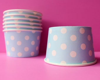 ICE CREAM  PARTY / cups / blue polka dot / Ice Cream / yogurt cups /  snack cups / candy cups /