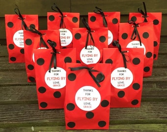 Personalized Ladybug Birthday Party Favor Bags, Ladybug Treat Bags, Ladybug Goody Bags, Ladybug Baby Shower Favor Bags (Set of 10)