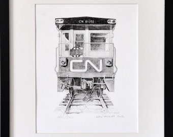 CN office car No. 61202, a signed and numbered giclee print