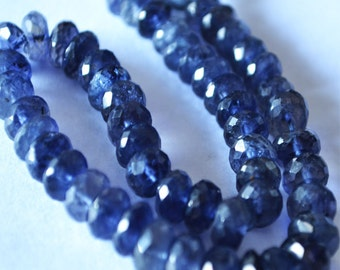 AAA Natural Blue Iolite Faceted Rondelle Beads 7-8 mm Approx 9 Inch Strand Water Sapphire Pale Indigo Blue