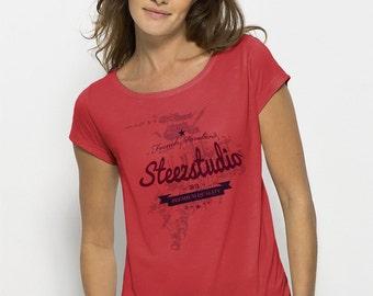 TEE-Shirt women red hibiscus 100% Modal Bio - beechwood fiber silky fluid