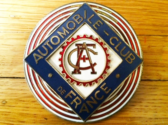 Vintage automobile club de france car badge for Automobile club de france piscine