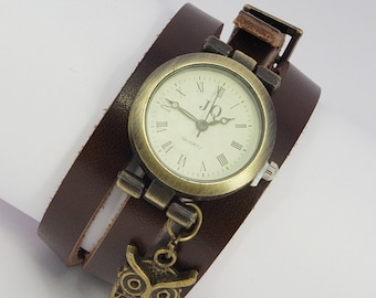 Wrap Watch Brown Bracelet Watch Wrist Watch Vintage Watch Owl Bracelet Dark Brown Wrist Watch Valentine gifts for her