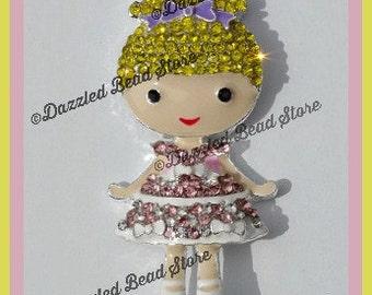 54mm x 25mm Ballerina Girl RHINESTONE bling pendant