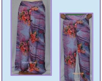 Pants, pants lilac flower
