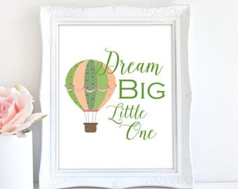 Dream Big Little One, Nursery Print, Printable Nursery Art, 8x10 Nursery Print, Baby's Room Decor