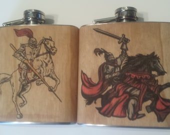Set of two (2) 6 oz wood wrapped flasks.  Knights on Horses