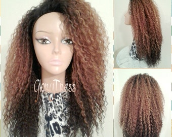 ON SALE // Celebrity Inspired Hairstyle, Kinky Curly Half Wig, Long Curly Afro Wig , Ombre Blonde Wig //  QUEEN
