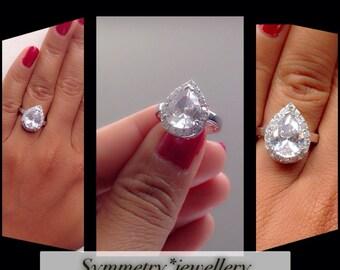 halo pear cut engagement ringsolitaire engagement ringwedding ring fine rings - Teardrop Wedding Ring