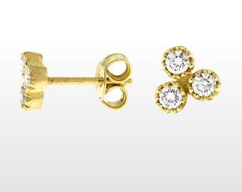0.30 carat Diamond Earrings - Bezel Diamond Earrings - Triple Diamond Earrings - Diamond Studs for Women 14k Yellow Gold