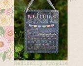 Medically Fragile Baby Child Door Sign Special Needs Chalkboard Sign