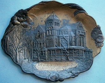 Souvenir of Governor's Mansion, Albany N.Y. Die Cast Metal Trinket Tray