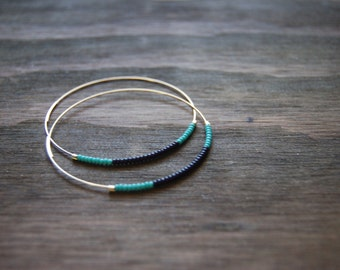 Turquoise and Black (#1) Beaded Hoops