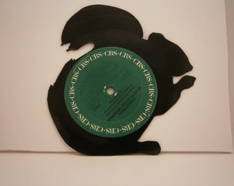 Record art! Vinyl record squirrel! Aborable one of a kind wall art! Created using a recycled vinyl record