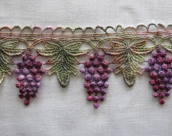 Grapes and Leaves, Hand Dyed Venise Lace 4060d, 1/2 yard cuts