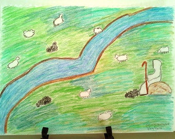 Sheep In Green Pastures - colored pencil drawing