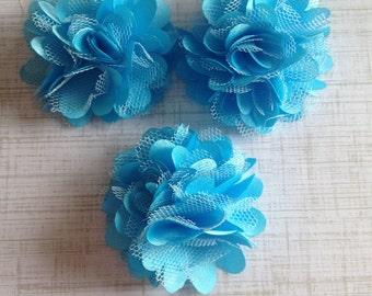 "Mini Satin and Tulle Puffs, 2"" Satin Mesh Flower, Turquoise Satin Flower, Wholesale Flower, Boutique Supplies, DIY Headband"