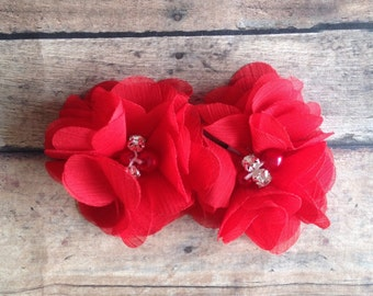 Set of 2 Red Petite Folded Flower, Petite Chiffon Flower, DIY headband, Wholesale Supplies, Wholesale Flowers