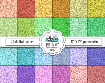 "COLORED LEATHER - Digital paper pack – Instant download - Scrapbook Paper –  12"" x 12"" - Commercial use –Digital background"