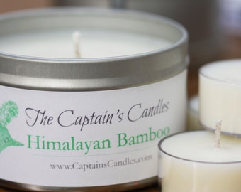 Himalayan Bamboo Candle Tin - 100% All Natural Soy Candles - Hand Poured - 8oz Smooth Finished Tin - Homemade - Bathroom Candle - Spa Candle