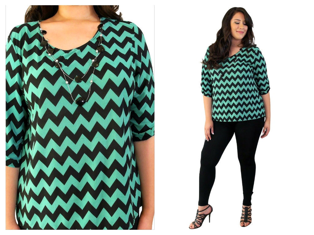 Plus Size Chevron Tunic Dress Plus Size Chevron Top