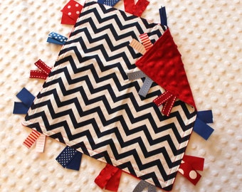 Personalized Tag Minky Sensory Ribbon Blanket Lovey- Navy Chevron and Minky Dot