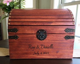 Wedding box, card box, wood burned, personalized, engraved, custom card chest, large chest rustic,