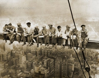 """Lewis Hine Photo, """"Lunchtime"""" on the high beam, New York, 1931"""