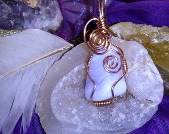 Blue Lace Agate wrapped in copper Wire