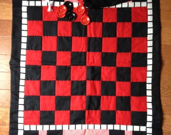 Quilted Vintage Hand Made Checker Board
