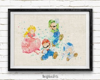 Super Mario Bros Watercolor Art Print, Burlap Print, Wall Art, Home Decor, Kids Decor, Nursery Room, Baby Gift, Buy 2 Get 1 Free! NA110