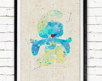 The Smurfs Poster, Clumsy Watercolor Art Print, Burlap Print, Kids Decor, Nursery Wall Art, Home Decor, Not Framed, Buy 2 Get 1 Free! NA226