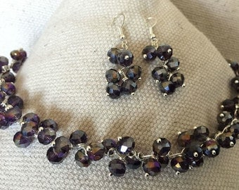 Beaded Necklace & Earring Set - Dark Amethyst AB
