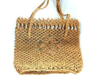 Vintage bag, weaving bag, ladies bag, Handmeyd vintage bag, brown handbag, Women's handbag, vintage, for her, gift