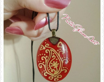 Hand painted Paisley oval glass pendant necklace