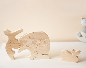Wooden Whale Puzzle Ornament
