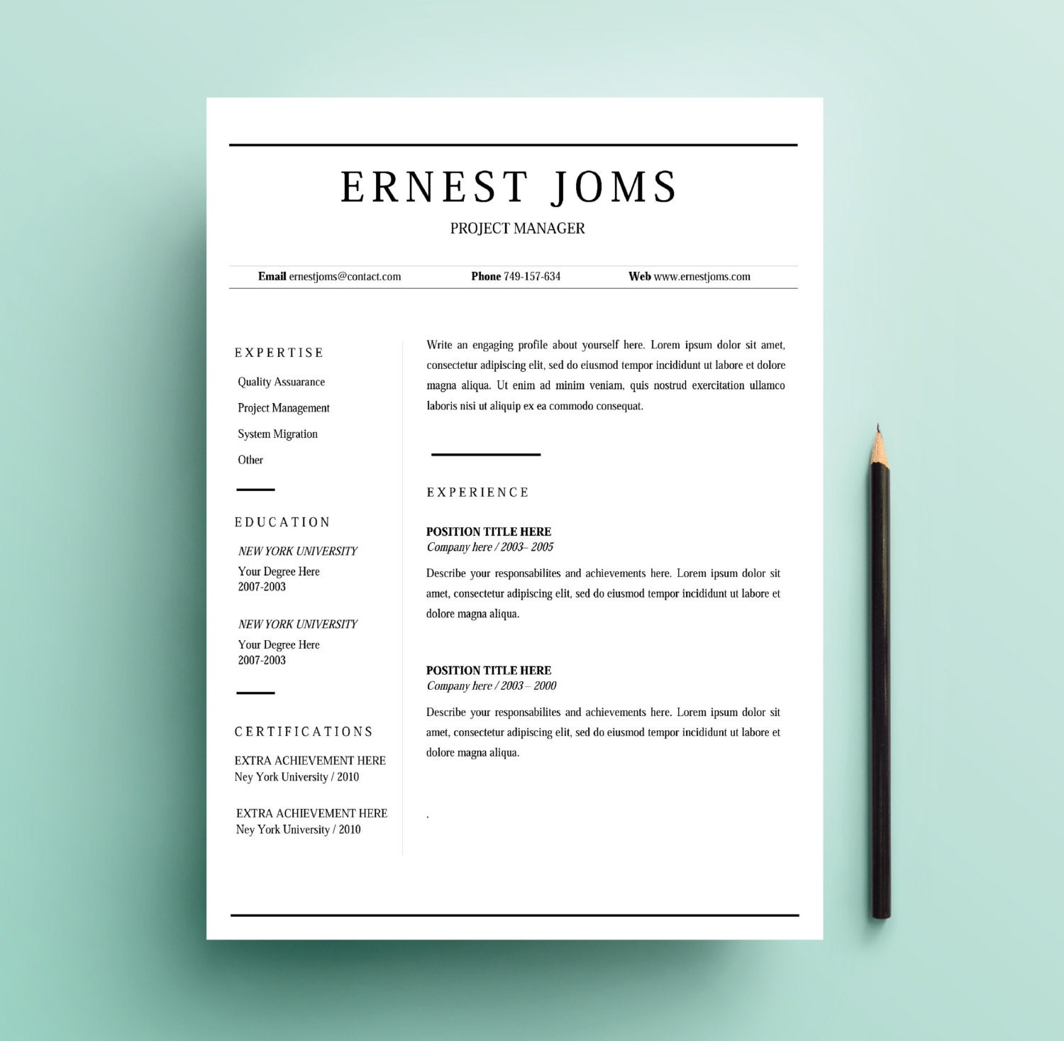 Simple Resume Template Word: Simple Resume Template / Minimal Resume Template / Word By