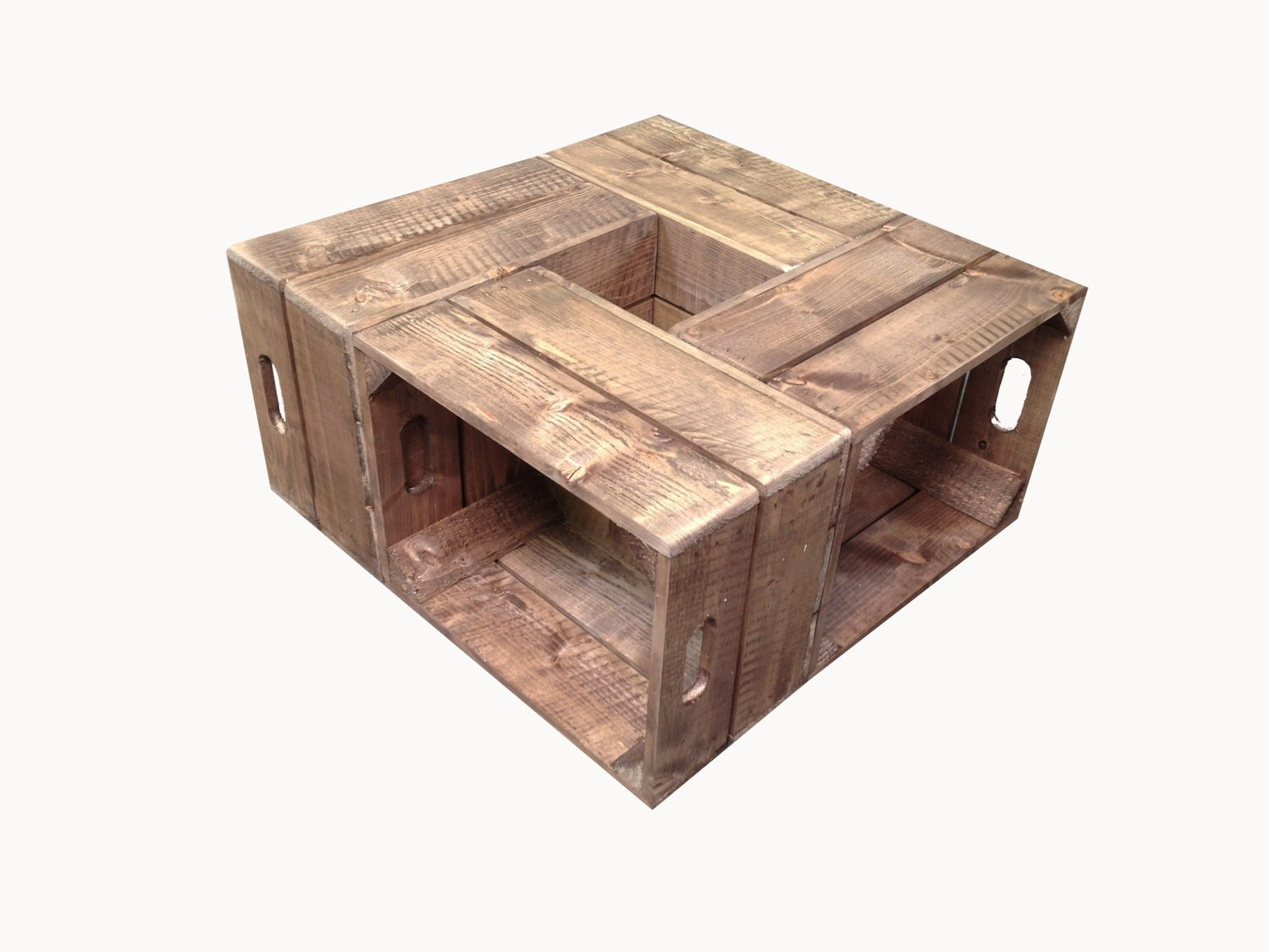 Free uk shipping handmade rustic wooden crate coffee table for Coffee table from wooden crates