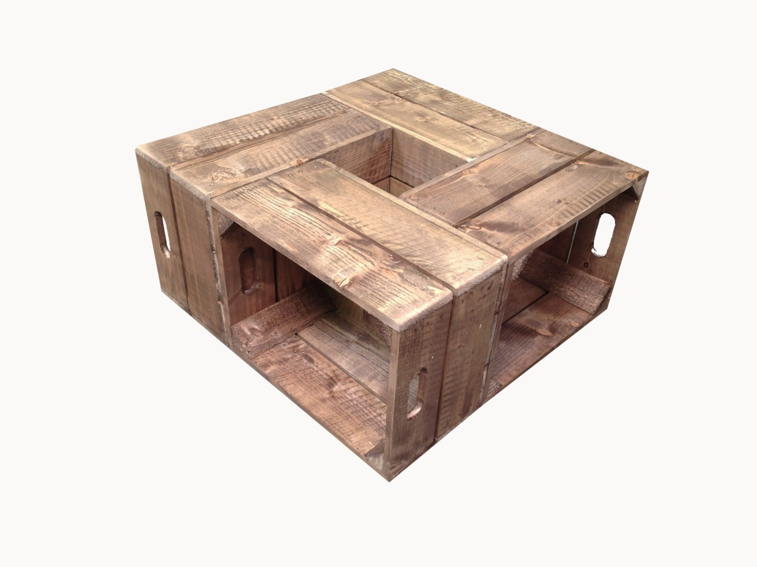 free uk shipping handmade rustic wooden crate coffee table. Black Bedroom Furniture Sets. Home Design Ideas