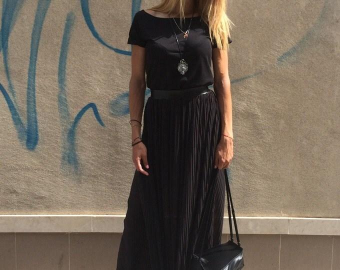 Black Waist Long Solei Skirt, Solei Skirt, Elastic Maxi Skirt, Elegant Skirt, Oversize Boho Skirt, Fashion Skirt by SSDfashion