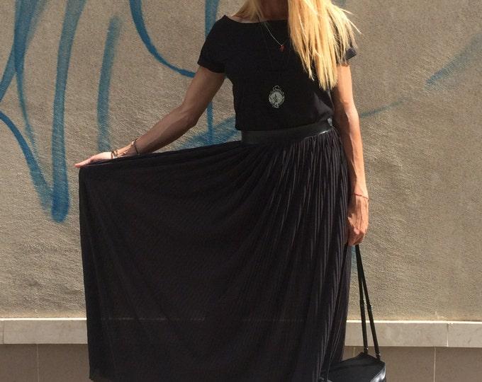 Extravagant Maxi Black Long Skirt, Oversize Soleil Boho Skirt, Loose Casual Skirt, Elegant Skirt By SSDfashion