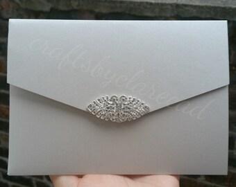 silver wedding invitations - wedding invitations - pocket fold invitations - wedding invite - silver and pink wedding invitations - wedding