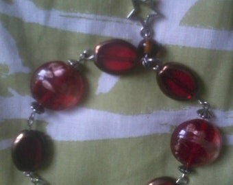 Red Beaded Bracelet with Star Charm