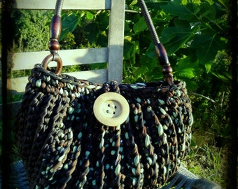 Handmade crochet military bag.