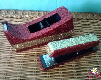 Glitter Striped Stapler and Tape Dispenser (Standard) (Your Choice of Colors)