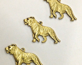 5 Pieces Vintage Gold Plated Walking Tiger Charm