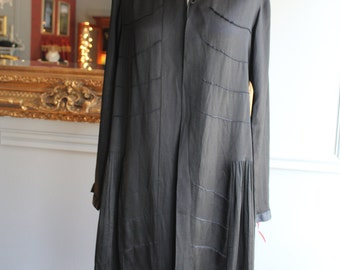 Vintage 1920's Black Silk Evening Coat